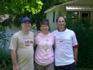 "Chris, Jane and Richard in their ""spare"" clothes from Canadian Tire"